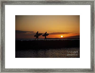 Sunset Surfers Framed Print by Brandon Tabiolo - Printscapes