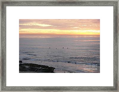 Framed Print featuring the photograph Sunset Surfing by Carol  Bradley