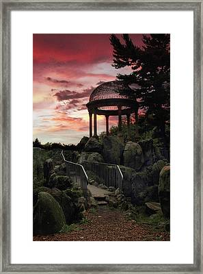 Sunset Temple Framed Print by Jessica Jenney