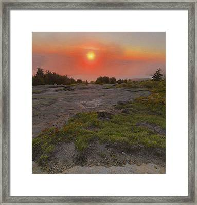 Framed Print featuring the photograph Sunset Through Fog by Stephen  Vecchiotti