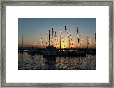 Sunset Through The Rigging - Syracuse Sicily Harbor Yachts Framed Print