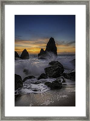Sunset Tide On Rodeo Beach Framed Print