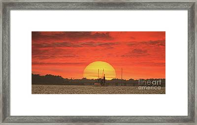 Sunset Trawler Framed Print