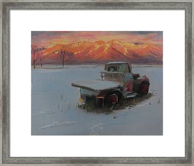 Sunset Truck In The Snow Framed Print by Elizabeth Jose