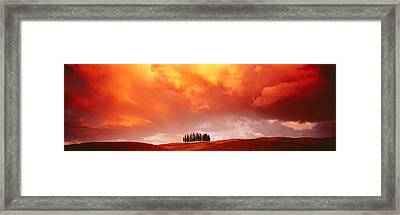 Sunset, Tuscany, Val Dorcia, Italy Framed Print by Panoramic Images