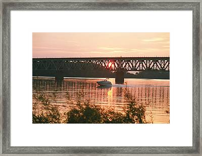 Sunset Under The Cbq Railroad Bridge Framed Print by C E McConnell
