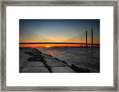 Sunset Under The Indian River Inlet Bridge Framed Print