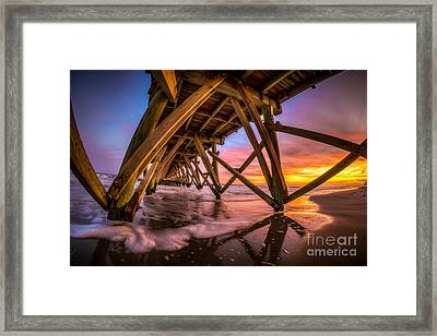 Sunset Under The Pier Framed Print