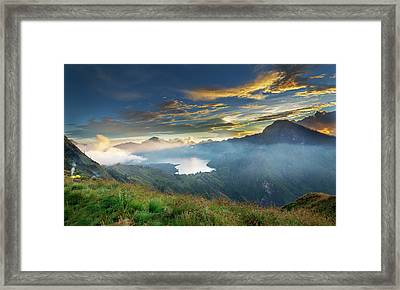 Framed Print featuring the photograph Sunset View From Mt Rinjani Crater by Pradeep Raja Prints