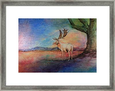 Framed Print featuring the painting Sunset View by Kim Fournier