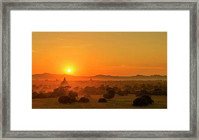 Framed Print featuring the photograph Sunset View Of Bagan Pagoda by Pradeep Raja Prints