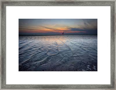 Sunset Walk On West Meadow Beach Framed Print by Rick Berk