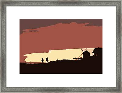 Sunset Walk With Red Sky And A Mill Framed Print