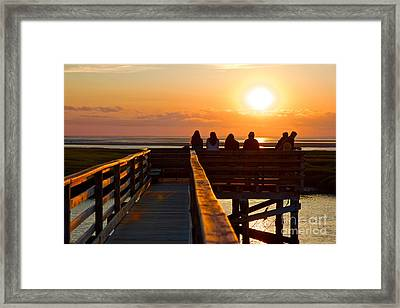 Sunset Watching At Grays Beach Boardwalk Framed Print by Amazing Jules