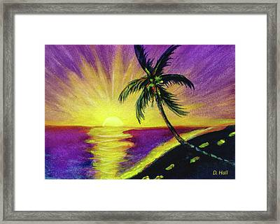 Sunset Water Color Footprints #26 Framed Print by Donald k Hall