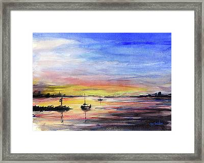 Sunset Watercolor Downtown Kirkland Framed Print by Olga Shvartsur