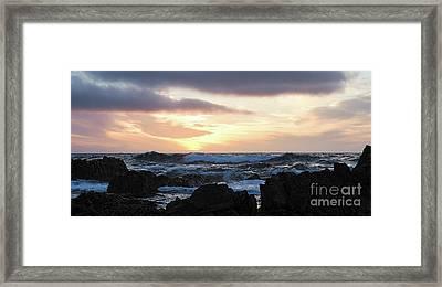 Sunset Waves, Asilomar Beach, Pacific Grove, California #30431 Framed Print