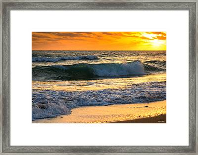 Framed Print featuring the photograph Sunset Waves by Rebecca Hiatt