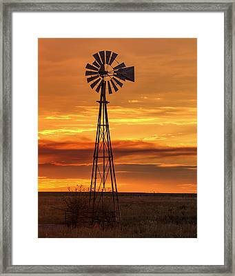 Sunset Windmill 01 Framed Print