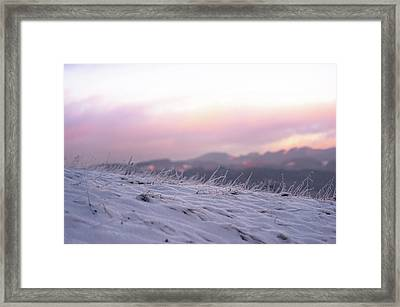 Sunset Winter Field Framed Print by Jenny Rainbow