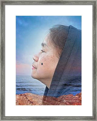 Sunset With A Profile Portrait Of A Filipina With A Mole On Her Cheek Framed Print