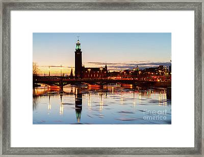 Sunset With Cityhall Of Stockholm Framed Print