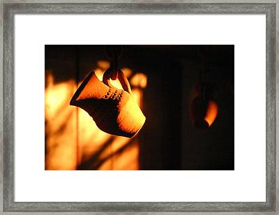 Sunset With Clay Jug Framed Print by Emanuel Tanjala