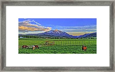 Sunset With Horses Framed Print