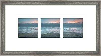 Framed Print featuring the photograph Sunset With Marine Layer Triptych by Alexander Kunz