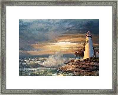 Sunset With Ohio Marble Head Lighthouse Framed Print
