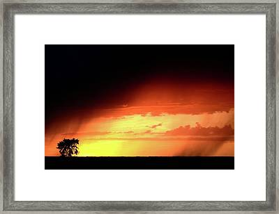 Sunset With Rain In Scenic Saskatchewan Framed Print by Mark Duffy
