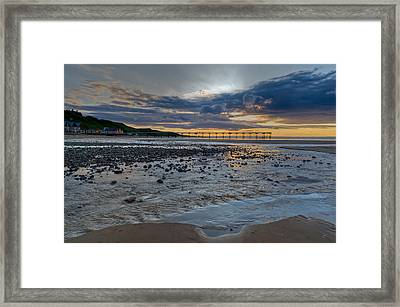Sunset With Saltburn Pier Framed Print by Gary Eason
