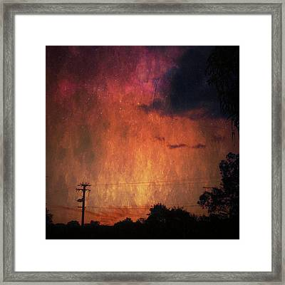 Sunset With Telegraph Pole Framed Print by AlyZen Moonshadow