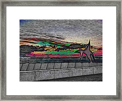 Sunset With The Eagle Framed Print