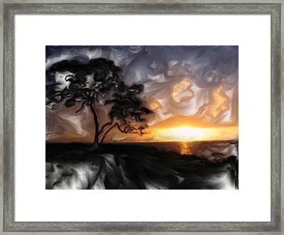 Sunset With Tree Framed Print by Mark Denham