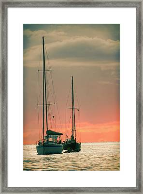 Sunset Yachts Framed Print by Konstantin Sevostyanov