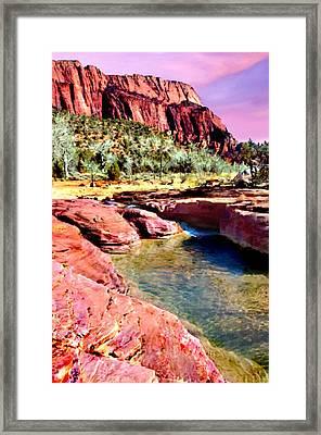 Sunset Zion National Park Framed Print by Bob and Nadine Johnston