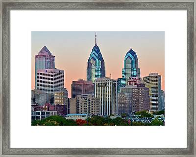 Sunsets Glow In Philly Framed Print by Frozen in Time Fine Art Photography
