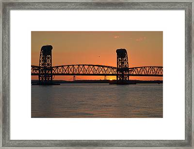 Sunset's Last Light Bridges Over Jamaica Bay Framed Print