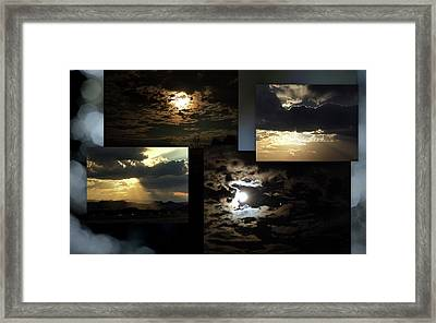 Framed Print featuring the photograph Sunsets Moons Rise by Irma BACKELANT GALLERIES