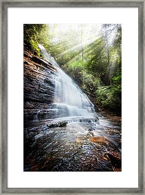 Sunshine At The Waterfall Framed Print by Debra and Dave Vanderlaan