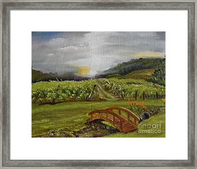 Sunshine Bridge At The Cartecay Vineyard - Ellijay Ga - Vintner's Choice Framed Print