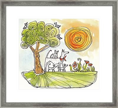 Sunshine Dogs Framed Print by Linda Kay Thomas
