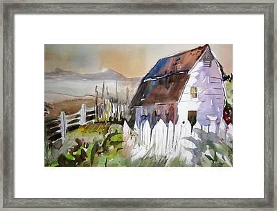 Sunshine On A Fence Framed Print