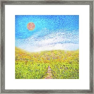 Framed Print featuring the digital art Sunshine Path - Field In Marin California by Joel Bruce Wallach
