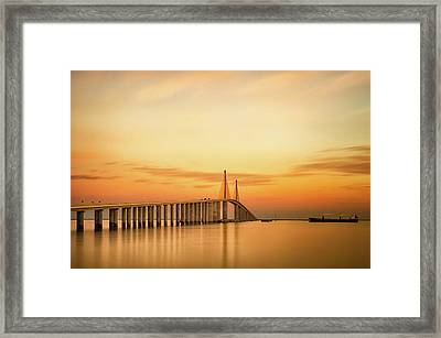 Sunshine Skyway Bridge Framed Print by G Vargas