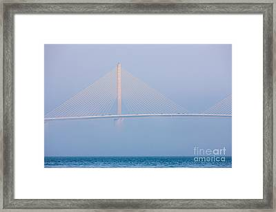 Sunshine Skyway Bridge In Fog I Framed Print