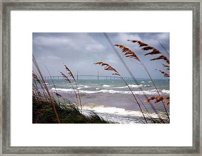 Sunshine Skyway Bridge Viewed From Fort De Soto Park Framed Print