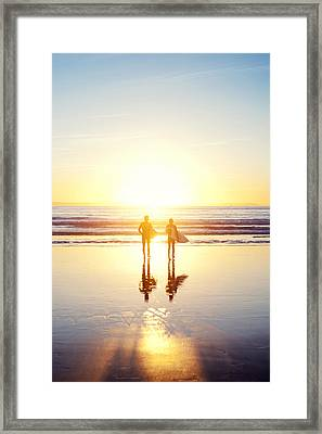 Sunsoaked Surf Silhouette Framed Print by Original photography by Neos Design - Cory Eastman