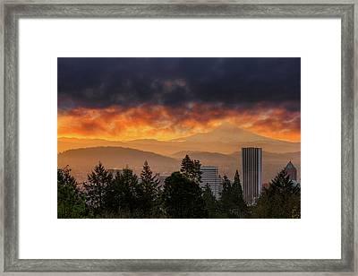 Sunsrise Over City Of Portland And Mount Hood Framed Print by David Gn